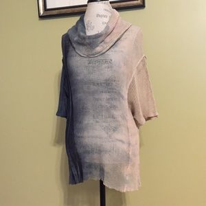Art of Cloth mesh ombré cowl neck sweater.